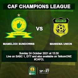 CAF Champions League: Mamelodi Sundowns vs Maniema Union